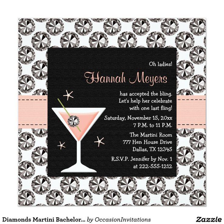 Diamonds Martini Bachelorette Party Invitations