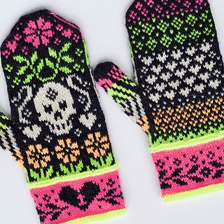 The Party Bones mittens were inspired by the Day of the Dead. This beautiful celebration is a commemoration of lost family and friends. It is rich with color, tradition, and love. These mittens were designed with all three in mind. These mittens are worked from the bottom up in the round using stranded colorwork. You will work with 2 strands of yarn throughout this pattern. You will never have to use more than 2 strands. This pattern provides instructions for knitting an unlined or lined…
