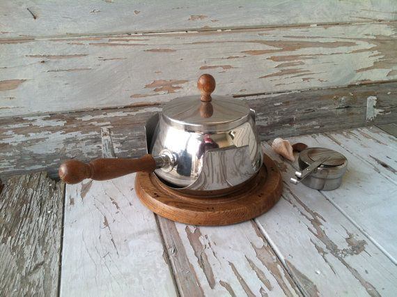Mid century fondue set in chrome and teak made by happydayantiques, $28.00