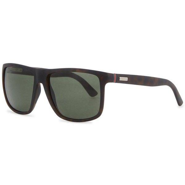 Gucci Matte Dark Tortoiseshell Mirrored Sunglasses (4.275 ARS) ❤ liked on Polyvore featuring men's fashion, men's accessories, men's eyewear, men's sunglasses, men's mirrored sunglasses, mens tortoise shell sunglasses and gucci mens sunglasses