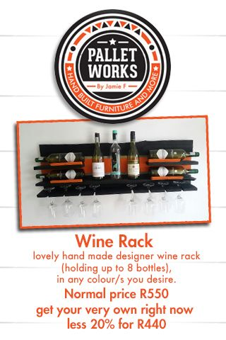 Lovely hand made designer wine rack (holding up to 8 bottles), in any colour's you desire. #Wine #Decor