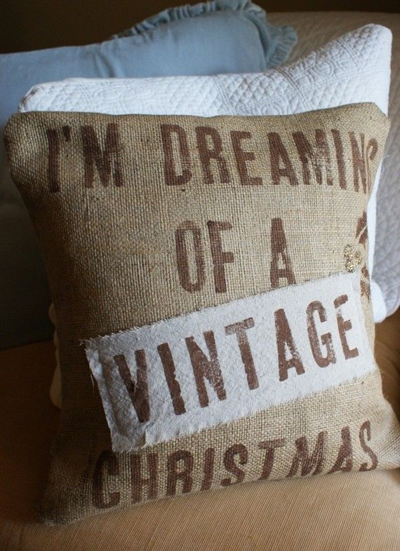 Burlap and a Vintage Christmas~: Pillows Cases, Vintage Christmas, Burlap Christmas, Vintage Wardrobe, Burlap Pillows, Christmas Stockings, Christmas Decor, Christmas Pillow, Vintage Clothing
