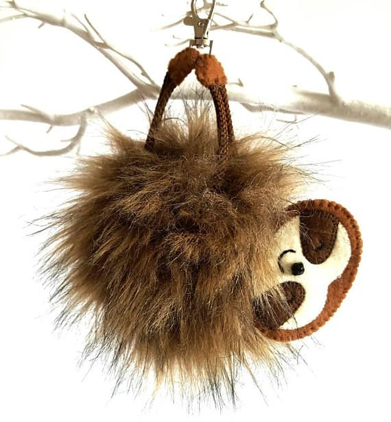 Fur Soft Chick London Handmade Charm Craft Key Vintage Pompom Animal Ring Gift