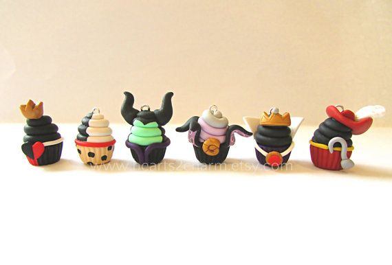 Disney Villains Inspired Cupcake Charms. Handmade Polymer Clay Cupcake Charm. Use as Pendant, Charm Bracelet, Earrings. Collect them all