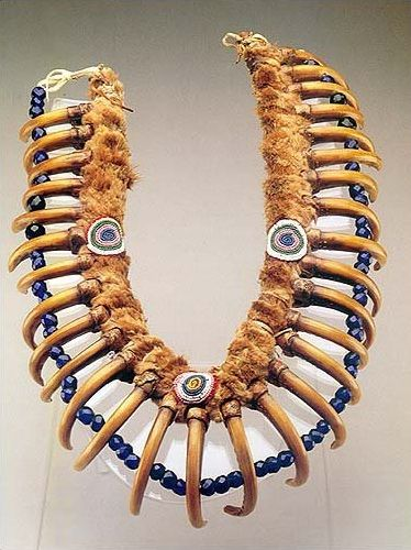 *Grizzly bear claw necklace belonging to Iowa tribe chief White Cloud. It is the very necklace from the famous portrait of this American Native chief painted by famous George Catlin 1844/1845.