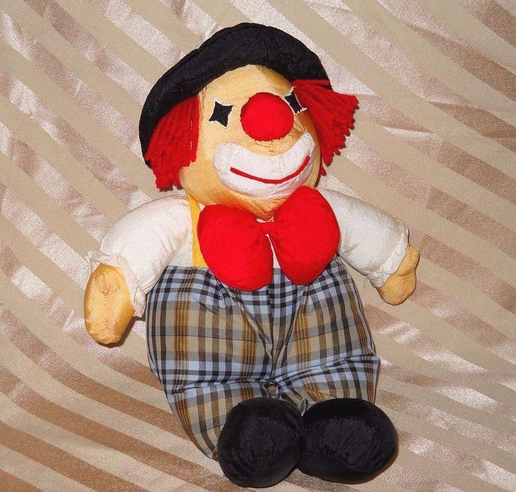 Vintage Clown Doll Nylon Parachute Stuffed Plush Walmart Red Hair Tramp Hobo