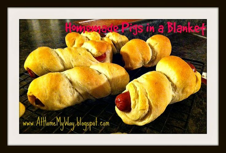 Freezer lunch idea - Homemade Pigs in a Blanket; also for appetizer, tailgating!