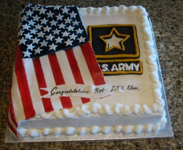 Army Retirement Cake - This is the cake I did for my husband's party for his retirement from the Army after 35 years of service. WASC cake with raspberry filling and french vanilla buttercream. The Army logo and flag are fondant. I got the idea from a fellow CCer, but I can't remember who it was. If you recognize your design, thanks! TFL Sandra