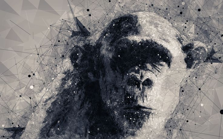 old-styled geometric monkey