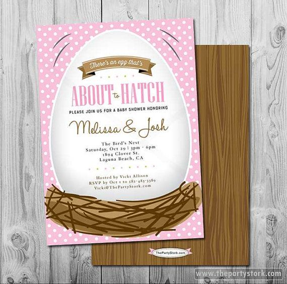 Baby Girl Shower Invitation About to Hatch bird by thepartystork, $15.00