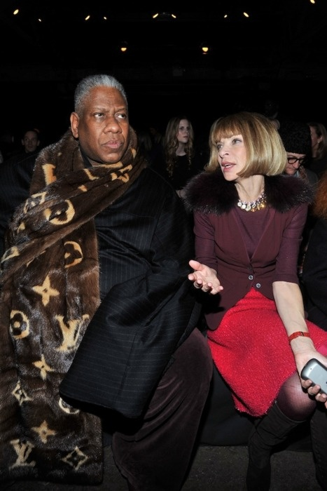 VOGUE'S Andre' Leon Talley wraped in LV blanket