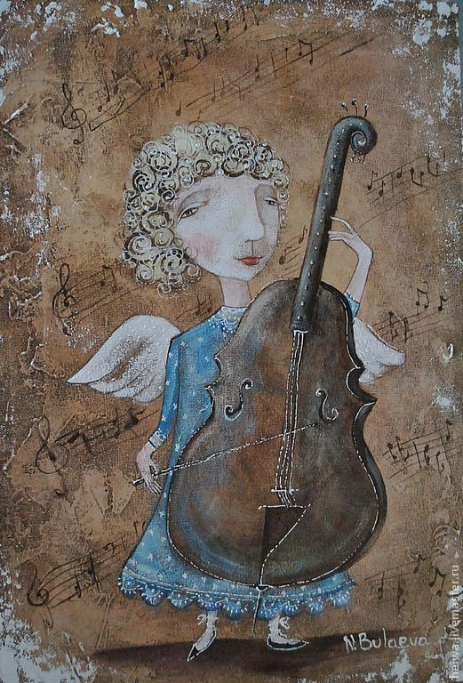 Купить Виолончель (репродукция) - бежевый, ангел, виолончель, ноты, картины для интерьера, печать на холсте
