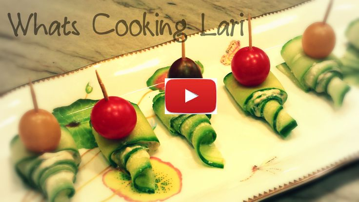 Cucumber Hummus Appetizer Topped with Colorful Mini Tomato - Healthy Finger Food