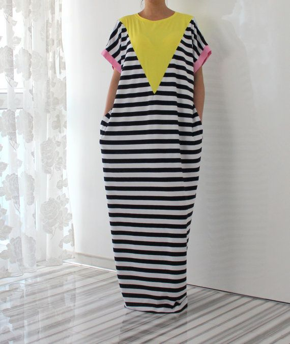 Black & White Striped Maxi Dress Knit Dress by cherryblossomsdress