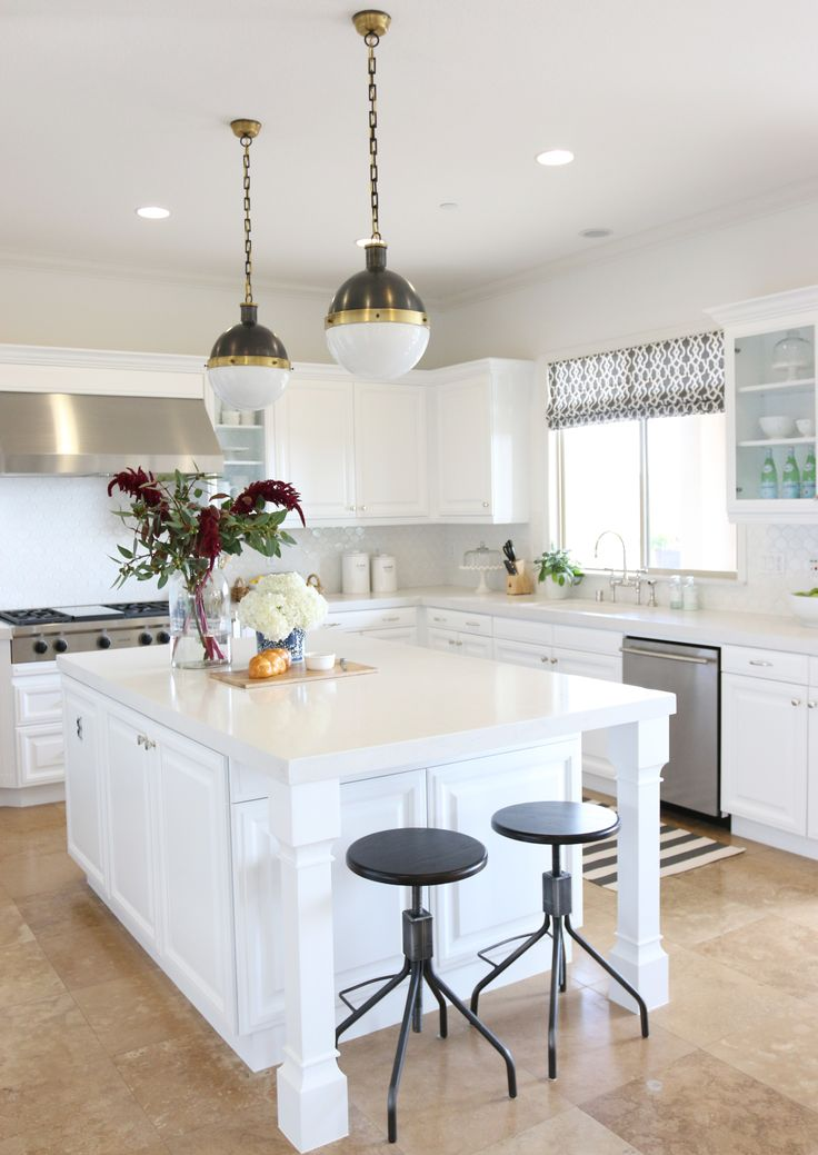 #lighting, #kitchen, #kitchen-island, #pendant-light    Read More: http://www.stylemepretty.com/living/2014/11/26/classic-white-kitchen/