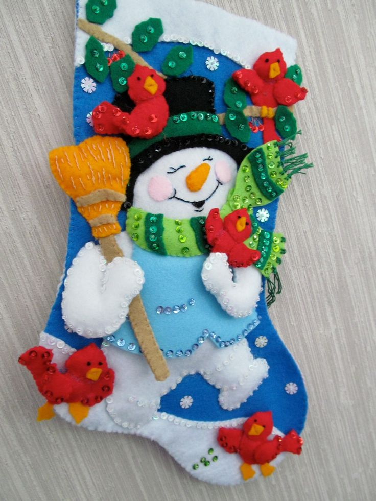 Snowman With Cardinals Completed Handmade Felt Christmas Stocking from Design Works Kit. $45.00, via Etsy.