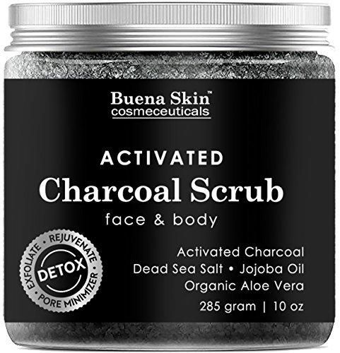 Activated Charcoal Scrub by Buena Skin | Deep Cleanser Pore Minimizer & Reduces Wrinkles Blackheads Acne Scars & Anti Cellulite Treatment - Great for Face & Body 10 oz.