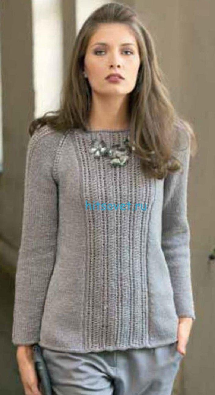пуловер реглан цельновязаный схема