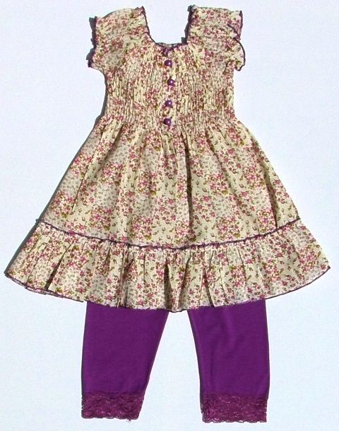 This Pretty Girls Floral Dress with Lace Trimmed Leggings. Avaiable in Brown or Purple, Sizes 2,4,6,8,10,12 years. Only £10.99 at www.kidzownchildrenswear.co.uk