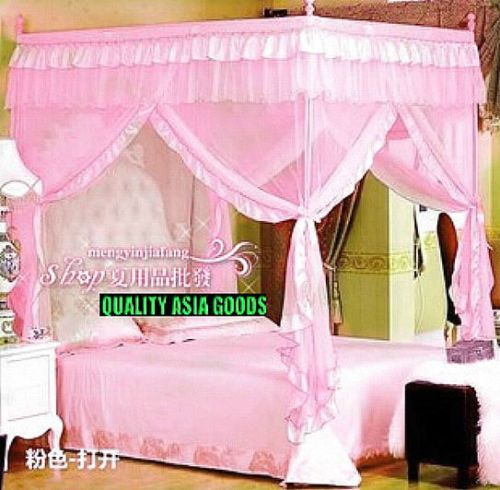 Bed Canopy Mosquito Net Set For Queen Full Pink Palace