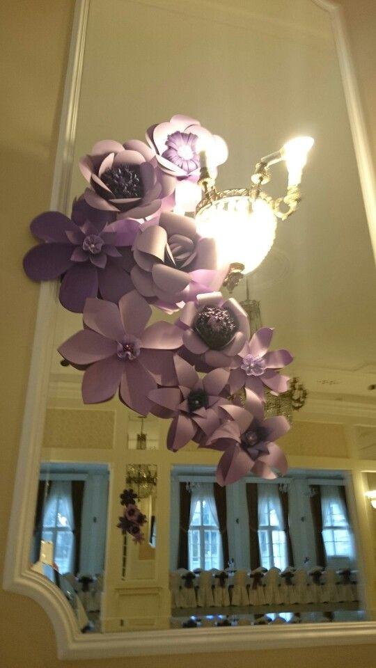 Lawendowo fioletowe papierowe kwiaty
