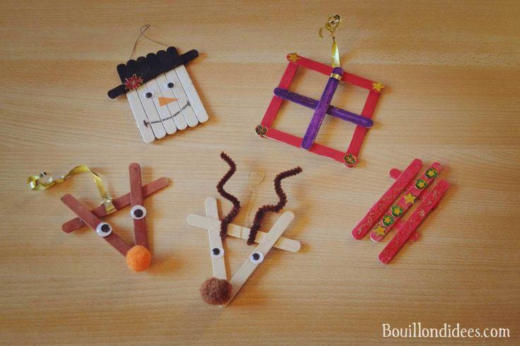 Nouvelle idée créative sur le blog : fabriquer des décorations à suspendre dans le sapin - à partir de des bâtons de glace en bois ! Une luge vintage, un bonhomme de neige, Rudolph - le renne du père Noël et un cadeau.
