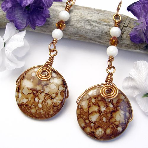 Copper White Shell Beaded Earrings Handmade Spirals Swarovski Crystals | PrettyGonzo - Jewelry on ArtFire