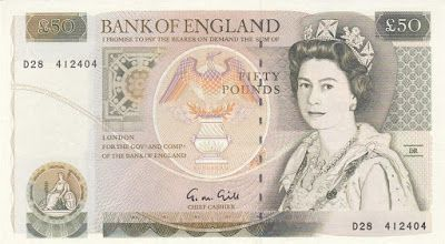 British English Banknotes Fifty pounds Bank of England note, Queen Elizabeth