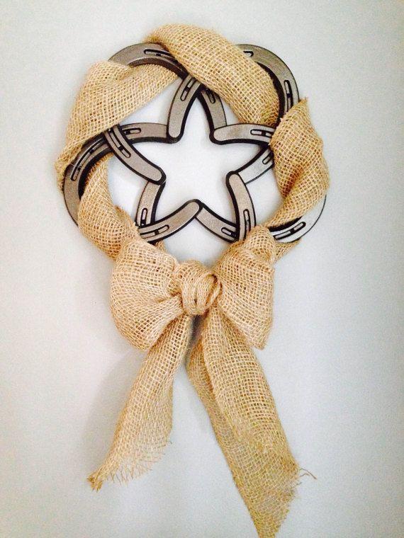 Burlap Bow Horseshoe Wreath by DsHorseshoeArt on Etsy