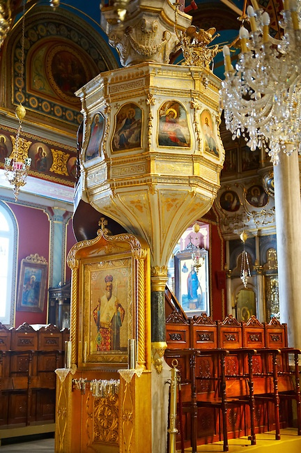 The unusual Baroque interior of the Greek Orthodox Metropolitan Cathedral of the Metamorphosis, Ermoupolis, Syros Island , , Greek Cyclades Islands