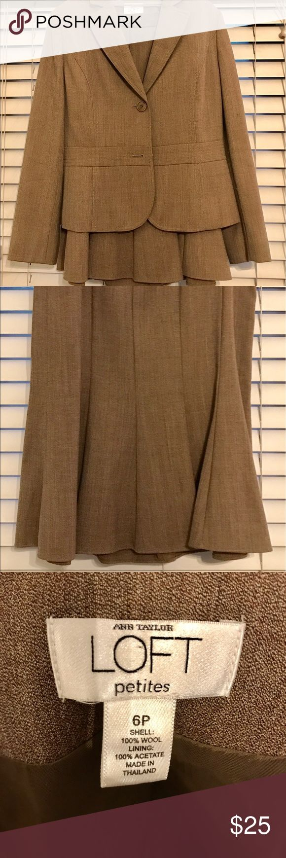 Like new! Ann Taylor Loft Petites Skirt- Suit I bought this a few years ago before a professional event and have worn it once. The color is a very light brown/very dark khaki and would look gorgeous with light nude pumps and a classic white button up blouse. The flounce at the bottom of the skirt is very flattering! It's fully lined, dry cleaned, and basically like new. Perfect for a young professional- don't miss this steal! Suits are expensive and you've gotta have a few classic ones for…