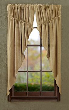 Burlap is all the rage and it's so easy to accent with other pieces you might own. Our Burlap Natural Prairie Curtains will give your windows coverage and create the look you're trying to achieve. https://www.primitivestarquiltshop.com/products/burlap-natural-prairie-curtains #countrystylecurtains