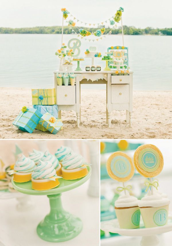 milk glass, jadeite, soft colors and a painted vanity. Such a sweet baby shower look.