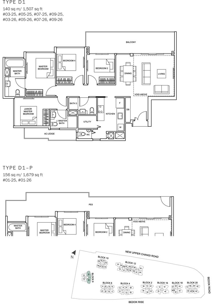 The Glades Condo Floor Plan - 4BR Loft - D1 - 140 sqm-1507 sqft, D1-P - 156 sqm-1679 sqft.JPG