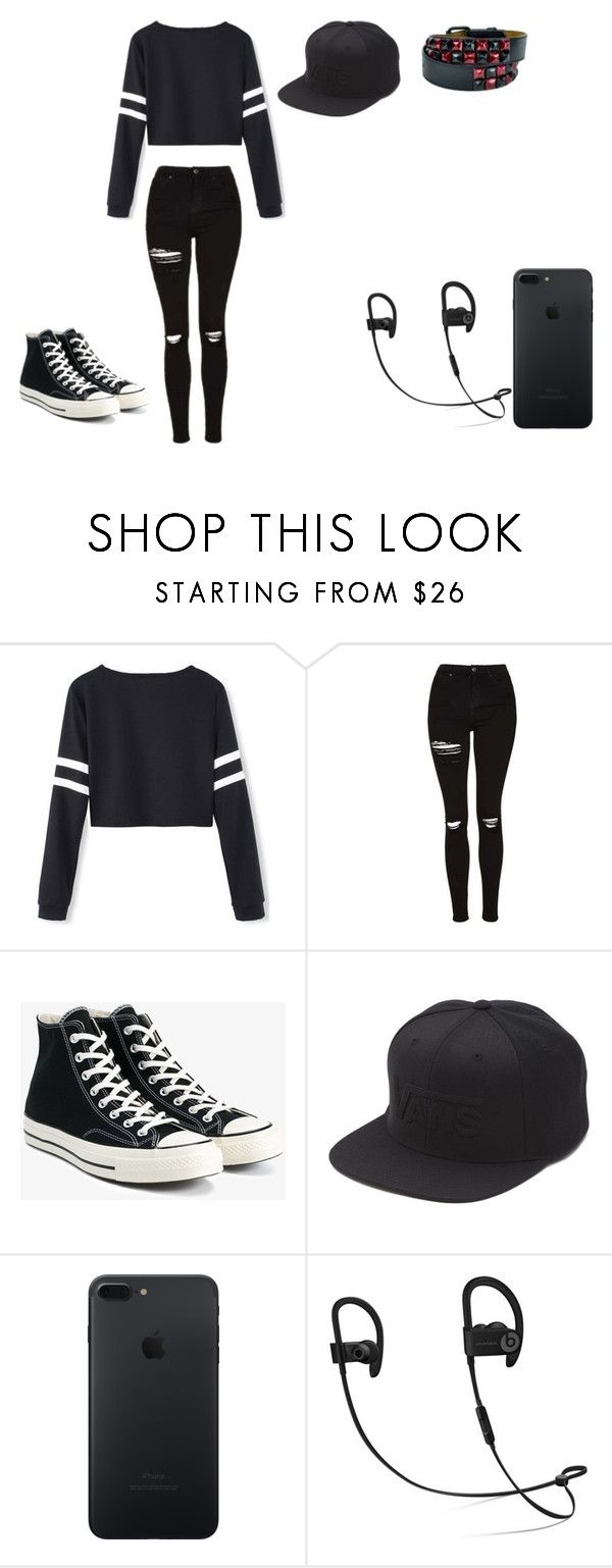 """Untitled #395"" by emo-kid0 ❤ liked on Polyvore featuring Topshop, Converse and Vans"