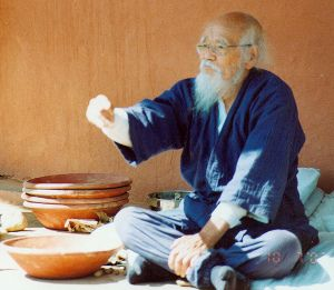 """Masanobu Fukuoka : """"Les gouvernements Africains et le gouvernement des États-Unis veulent que les gens ne fassent la culture que de cinq ou six variétés de café, de thé, de coton, pour l'exportation et pour faire de l'argent. Les légumes ne sont que de la nourriture et ne rapportent pas d'argent. Alors ils disent qu'ils vont fournir le maïs et le blé pour que les gens n'aient pas besoin de faire pousser leurs propres légumes."""""""