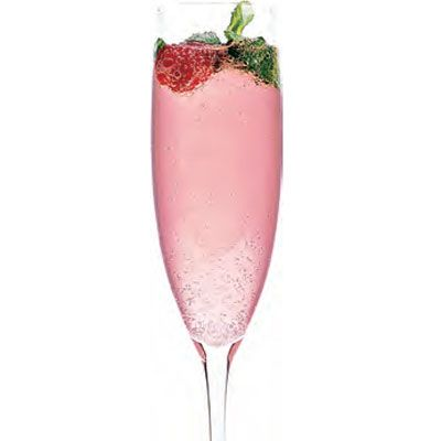 This looks so yummy!    3 teaspoon(s) sugar (or simple syrup)      12  fresh mint sprigs, plus extra for garnish      3 ounce(s) fresh lime juice      Ice      8 ounce(s) vodka      Cranberry juice      Champagne or sparkling wine      Fresh raspberries, for garnish