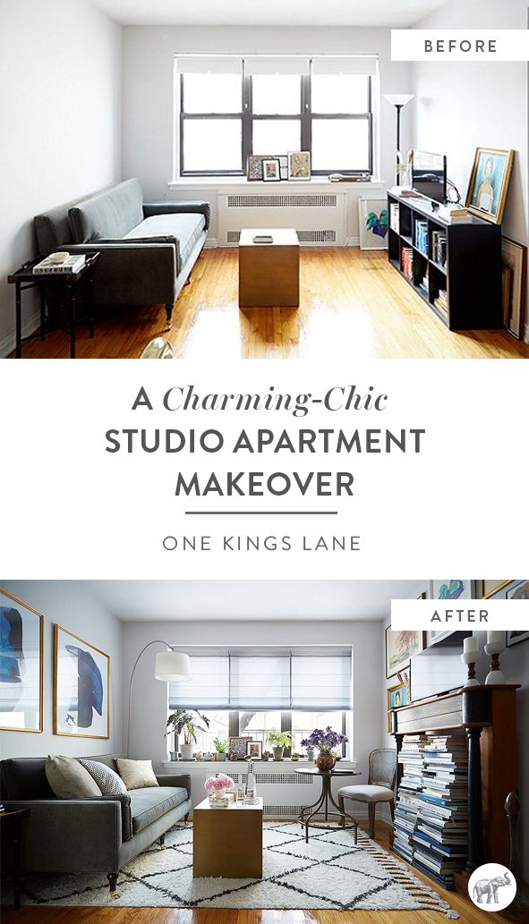 If you think these before and after living room images are amazing, just wait until you see the rest of this NYC studio apartment makeover from The Studio at One Kings Lane!