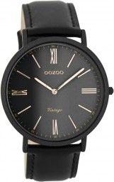 Oozoo Ultra Slim Vintage Uhr C7714 - schwarz/rose - 40 mm - Lederband