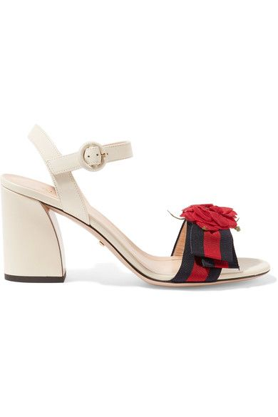 Gucci - Appliquéd Grosgrain-trimmed Leather Sandals - Neutral - IT40.5