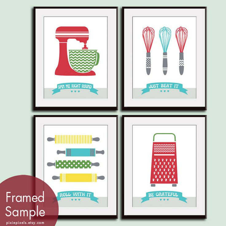 Cute Kitchen Quotes Pattern Kitchen Prep Utensils by pixiepixels, $38.85