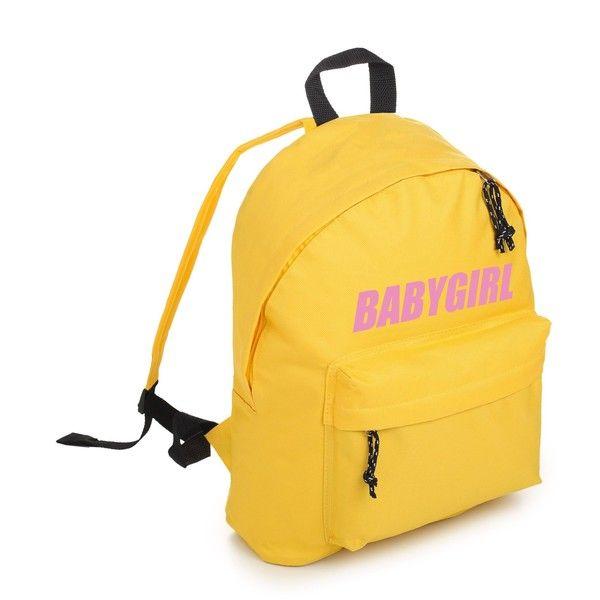BABYGIRL BACKPACK (77 BRL) ❤ liked on Polyvore featuring bags, backpacks, yellow bags, yellow backpack, backpack bags, hipster bag and grunge backpack