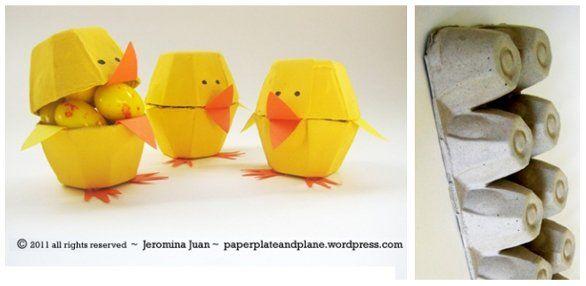 pulcini di cartone: riciclo creativo
