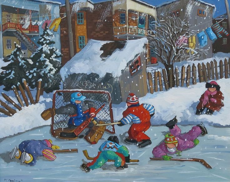 Notre Sport Préféré- The rosy-cheeked children playing throughout Pauline Paquin's work have become well known to Canadian collectors. Using bold colours and rapid brushstrokes, Paquin creates delightful small panels that concentrate on the movements and activities of the children. Technique: oil on canvas Dimensions: 24x30 in. Price: $4,275 Cdn
