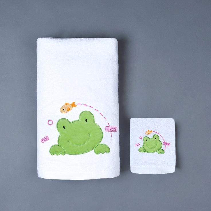 Σετ Παιδικές Πετσέτες Λευκό-Ροζ Frog - Βρεφικές Πετσέτες - Προικα Μωρου - pennie.gr
