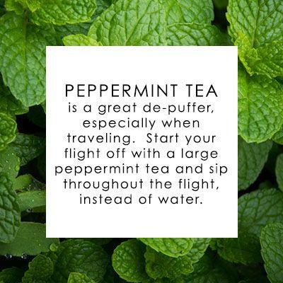 Peppermint tea. The traveller's friend when in transit.