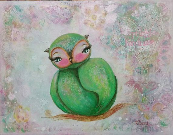 Whimsical owl painting. Mixed media. Orianna by teeztreasuretrove