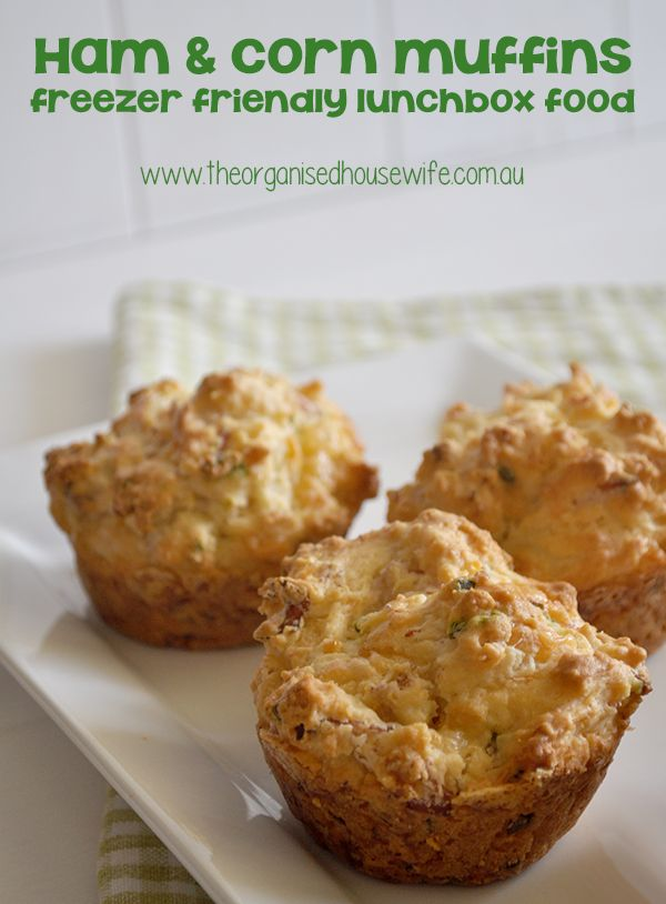 {The Organised Housewife} Freezer Friendly Ham and Corn Muffins