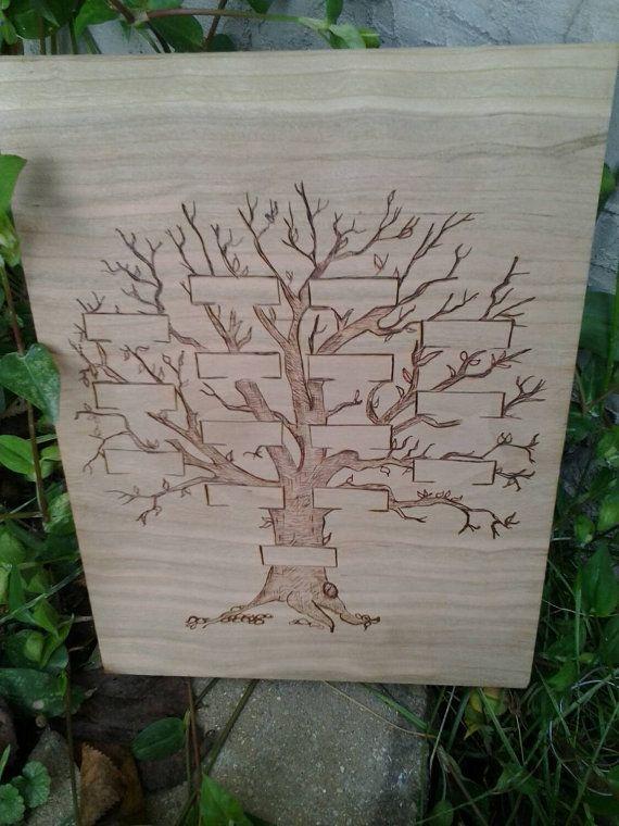 Woodburned Family Tree by FransGirls on Etsy