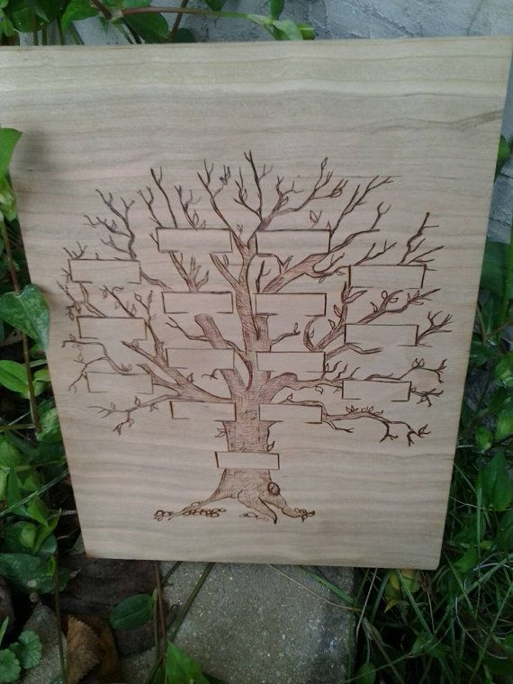 Woodburned Family Tree by FransGirls on Etsy